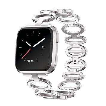 Malloom Ganso Estilo Huevo de Acero Inoxidable con Cadena de Acero Inoxidable Pulsera Reloj Elegante Correa de Banda para Fitbit Versa (Plata): Amazon.es: ...