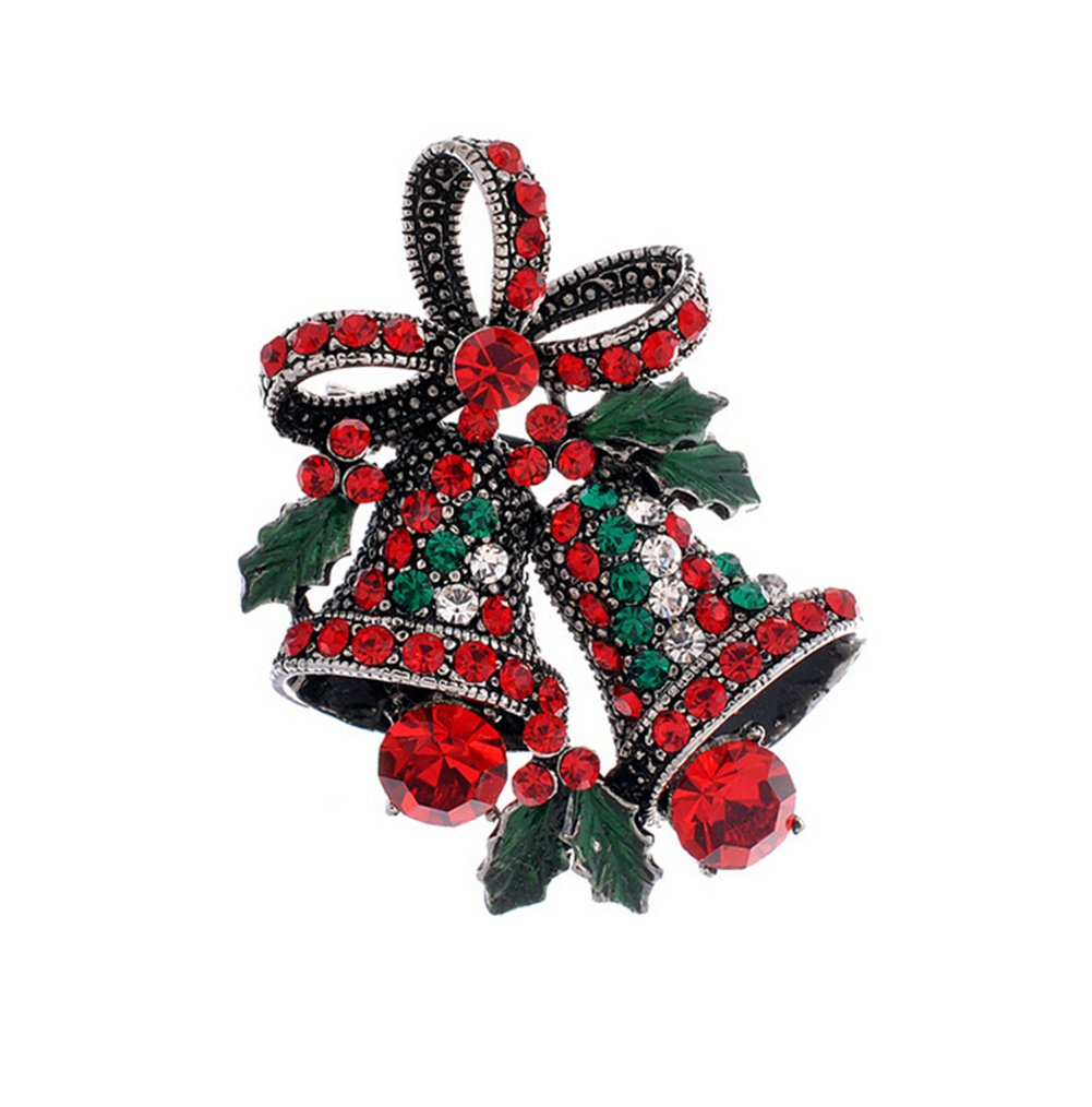 Yodio Jingle Bell Brooch Fashion Elegant Christmas Bell Bow Knot Wedding Bridal Brooch Pin Rhinestone Corsage Covered Scarves Shawl Clip For Women's Ladies Girls Christmas Gift