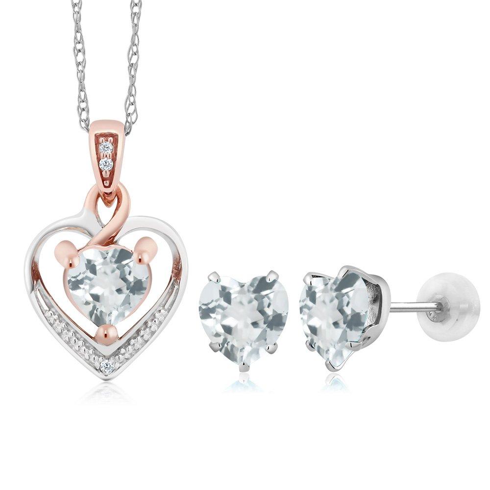 10K White Gold Heart Shape Sky Blue Aquamarine and Diamond Pendant Earrings Set