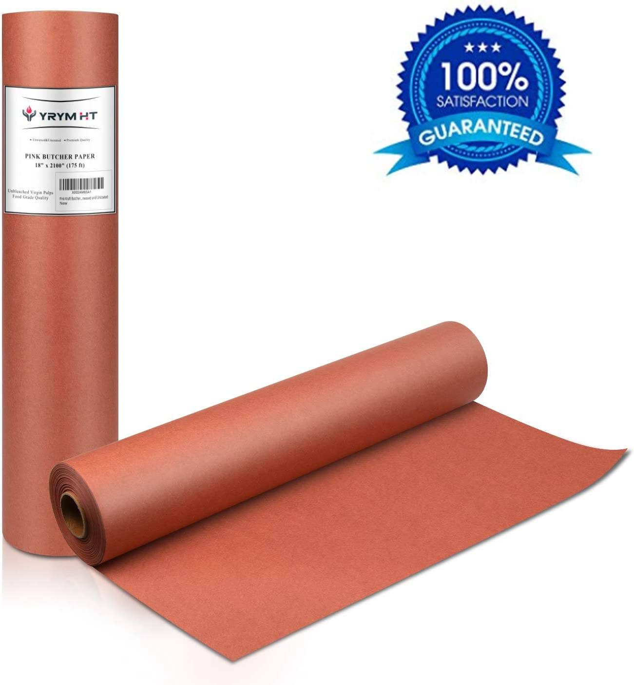 "Pink Kraft Butcher Paper Roll - 18"" x 2100"" (175 ft) - Food Grade – Peach Wrapping Paper for Meats of All Varieties – Unbleached, Unwaxed and Uncoated"