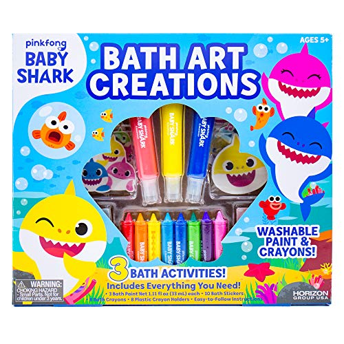 Baby Shark Bath Art Creations by Horizon Group USA, Draw Fun & Exciting Washable Artwork During Bath Time. Dissolvable & Washable Paints, Crayons & Stickers Included, Multicolored (Shark Art)