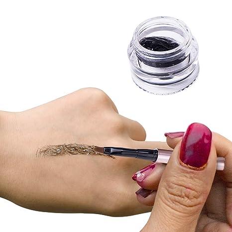Turelifes Impermeable Fibra Pelo Extensiones de cejas Gel Instantáneo de cejas Extensiones de cabello con cepillo