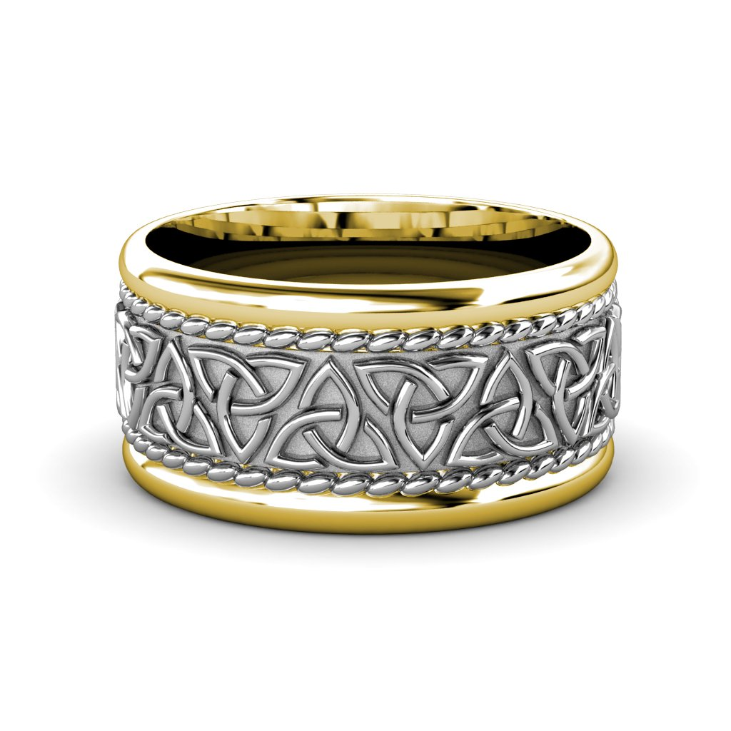 High Polish 10mm Flat Two Tone Celtic Trinity Knot Wedding Band in 14K White Gold.Size 7.0