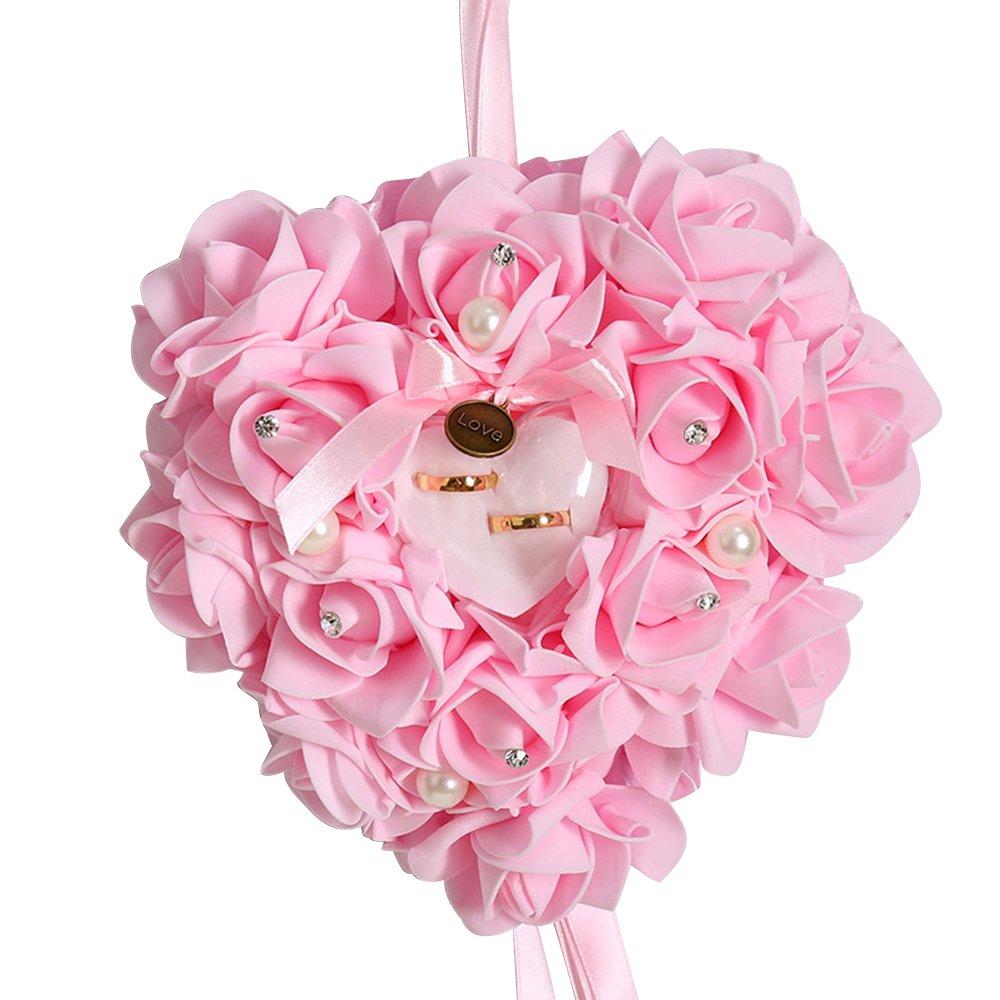 FGRYB 1pcs Oreiller d'anneau pour la Dentelle de Mariage Crystal Rose Heart Ring Box Accessoires de Mariage