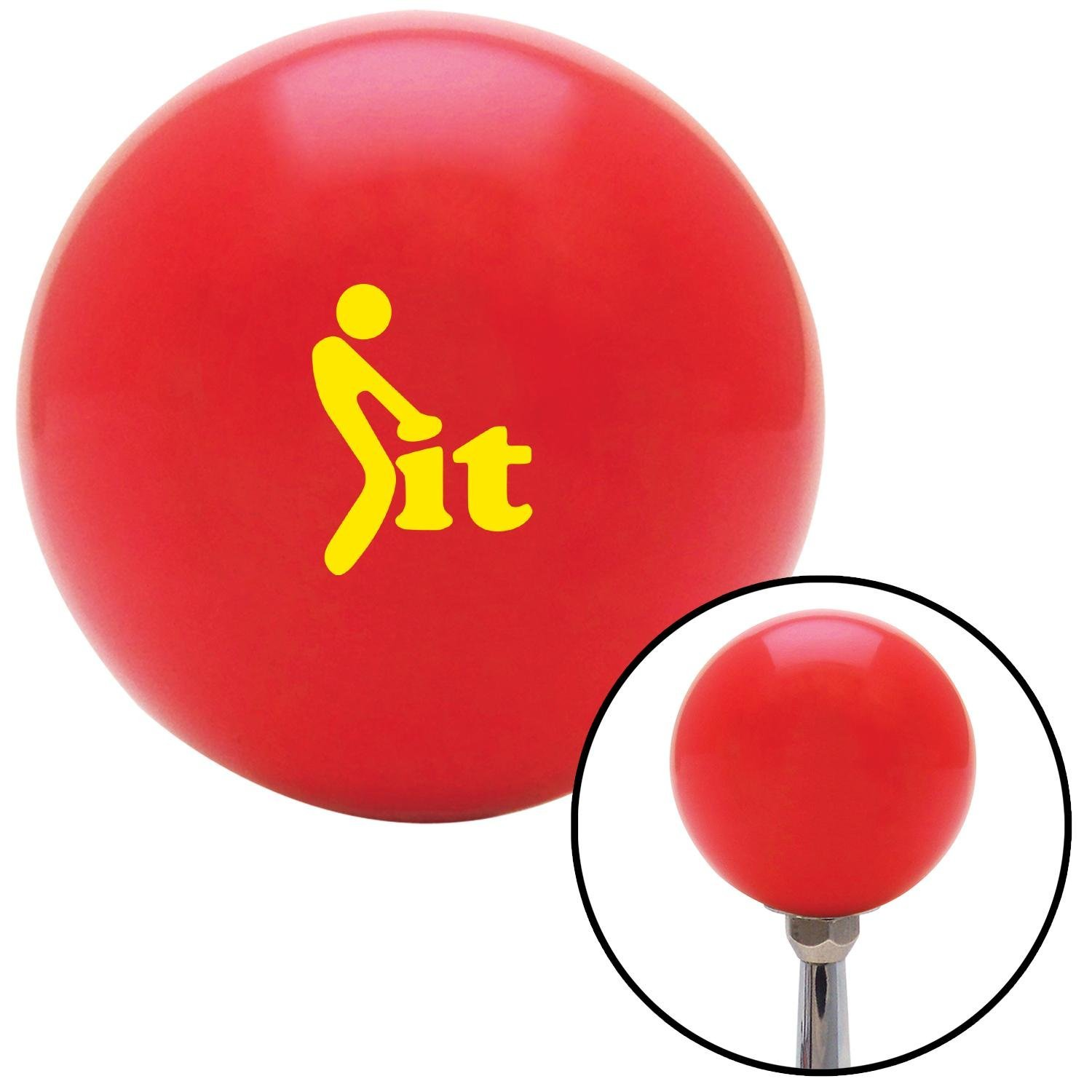 Yellow FCK It Icon Red with M16 x 1.5 Insert American Shifter 271738 Shift Knob
