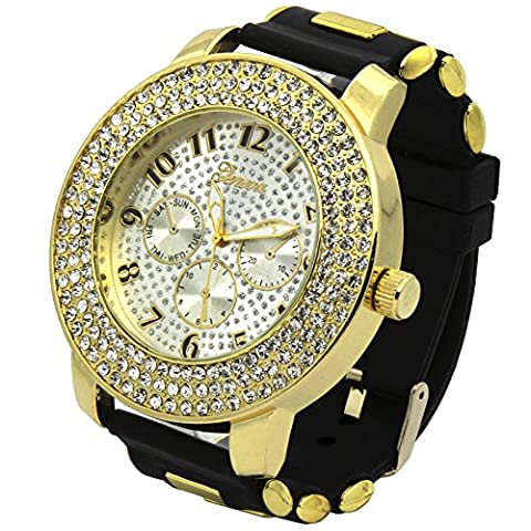 Totally Iced Out Pave Geneva 3line Gold Tone White face Over Sized Hip Hop Men's Bling Watch Watches Bk Silicone (Geneva Watches Men Gold)