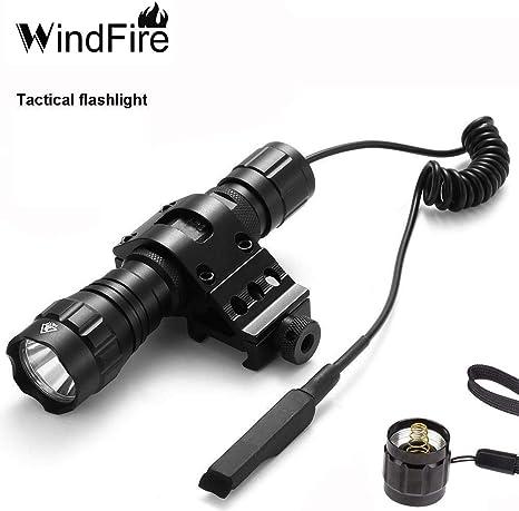 Windfire XM-L T6 LED 1000 lm 3.7-18 V 1 Mode lumi/ère tactique lampe de poche avec commutateur de pression tactique//commutateur et corps support de fixation pour la chasse batterie non inclus