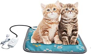 ANZERWIN Cat Heating Pad Indoor,Heated Cat Bed Pad,Small Heated Dog Bed Pad,Dog House Pad,Heating Pad for Puppies,Heated Pet Bed Pad,Dog Heating Pad Outdoor,Easy Clean Long Chew Proof Cord 6.6 FT