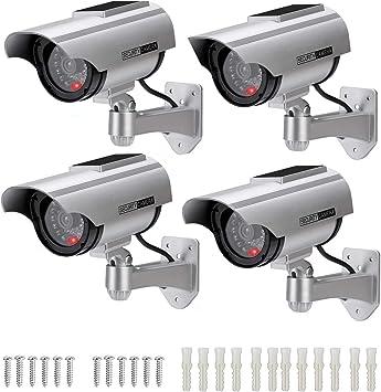 4er Set Dummy Kamera Dome Überwachungskamera mit LED Kamera Attrappe Sicherheit