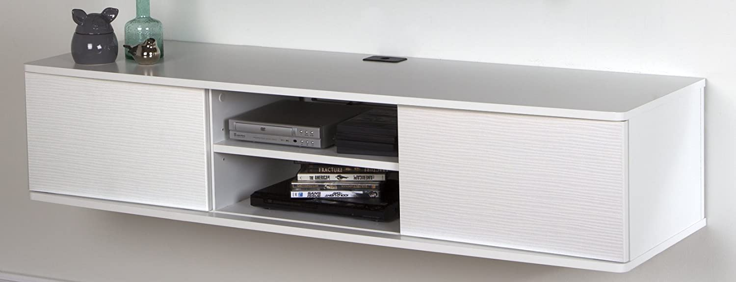 South Shore Floating Wall Mounted Media Console, Pure White, 56 ,