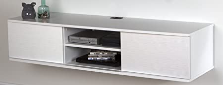 South Shore 9029676 Floating Wall Mounted Media Console, Pure White, 56 ,