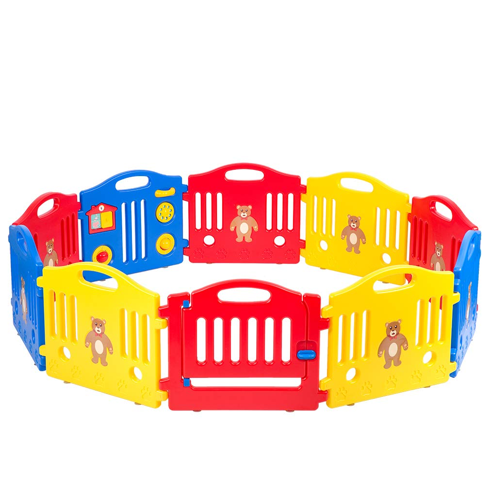 Baby Play Yard Baby Playpen Safety Play Yard Fence Activity Centre 10 Panel with Gate Door Home Indoor Outdoor Activity Center