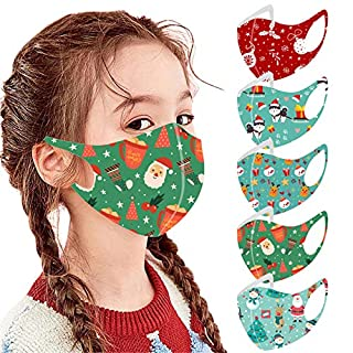 Mallocat 5PC Kids Face_Masks Christmas Print Breathable Seamless Reusable Washable Cotton Cloth Face Bandanas Coverings Protective for Children Students Back to School
