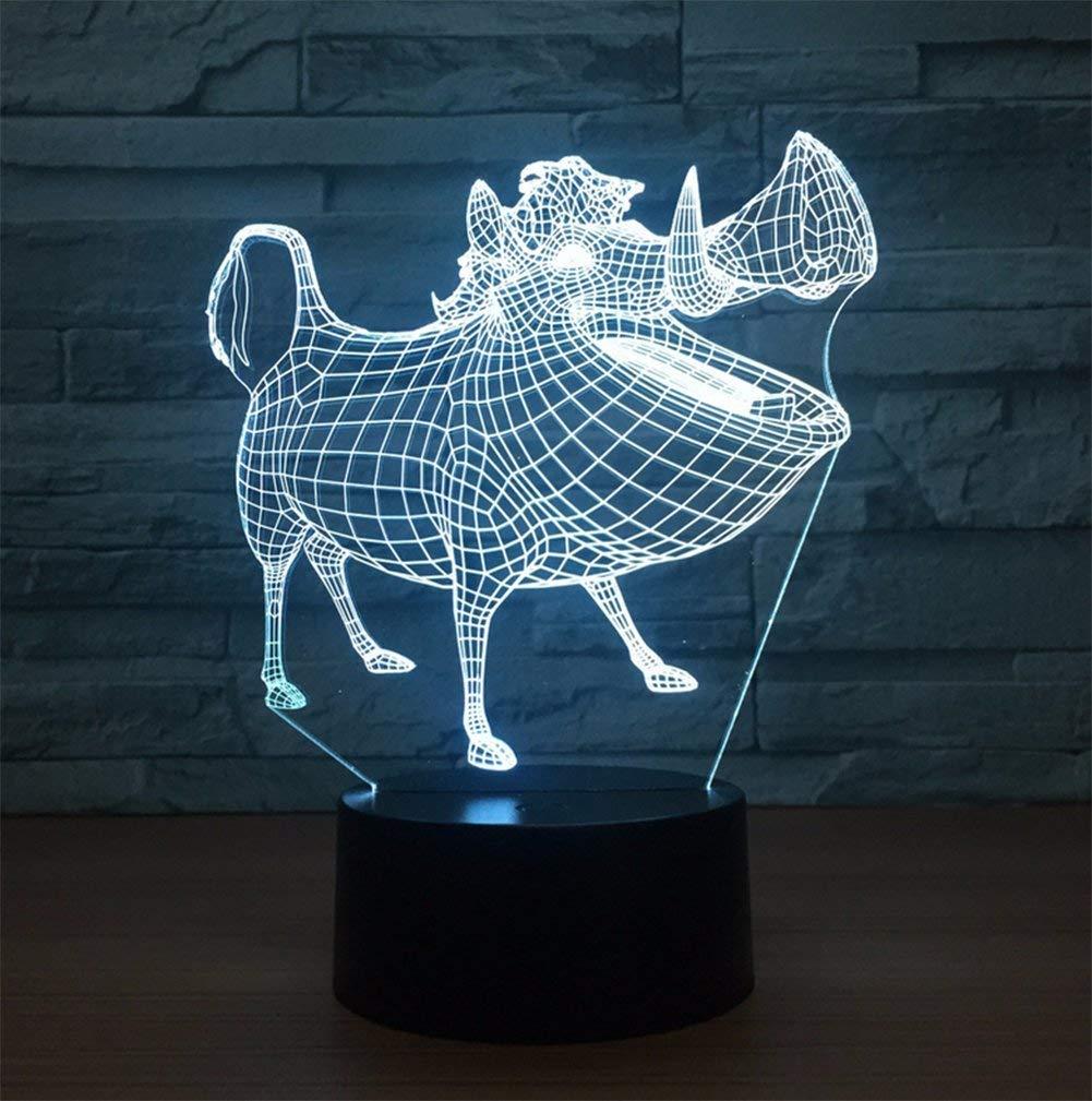 FORTR Home Neuheit Wildschwein 3D Illusion Lampe LED Nachtlicht Stereo mit 5 Farbverlauf USB Powerot Schlafzimmer Schreibtischlampe für Kinder Weihnachten Geburtstag Geschenke