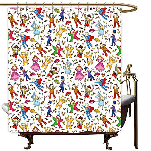 MaryMunger Custom Shower Curtain Kids Native American Pirate Princes Cat Costume Wearing Children Pattern Colorful Abstract for Master, Kid's, Guest Bathroom W94x72L Multicolor