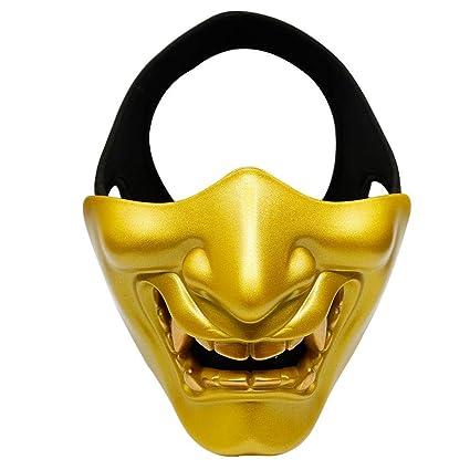 AOLVO Samurai máscara Oni Demon Airsoft máscara de Media Cara Hannya Kabuki máscara de Monstruo Cara del Mal de la máscara para Mascarada de ...