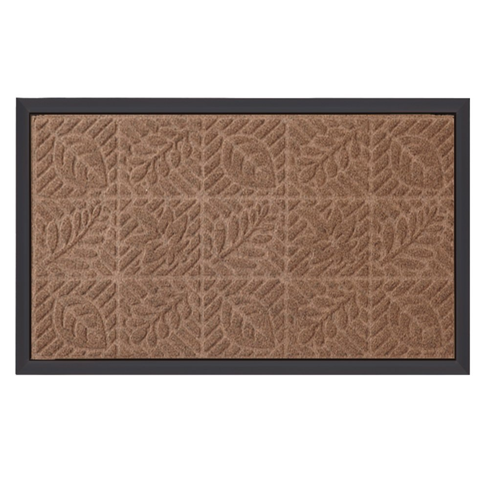 "Outside Shoe Mat Rubber Doormat for Front Door 18""x 30"" Outdoor Mats Entrance Waterproof Rugs Dirt Debris Mud Trapper Carpet for Patio Non Skid Doormats All Weather Exterior Door Mat Brown Amagabeli DRT001"