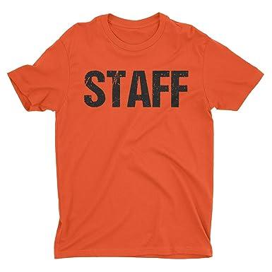 f2fe3dbf8dae65 NYC FACTORY Neon Orange Staff T-Shirt Front & Back Print Mens Event Shirt  Tee