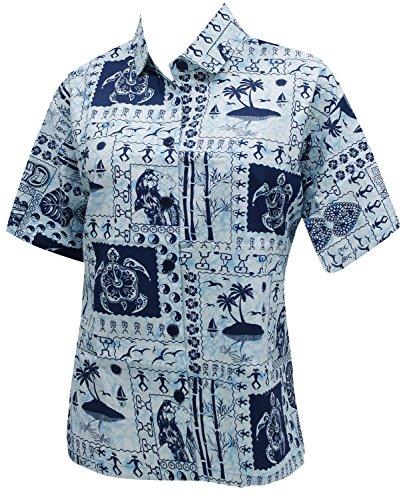 del collar hawaiano novio camisa blusas estampadas para mujer de manga corta ropa de playa ocasional azul marino