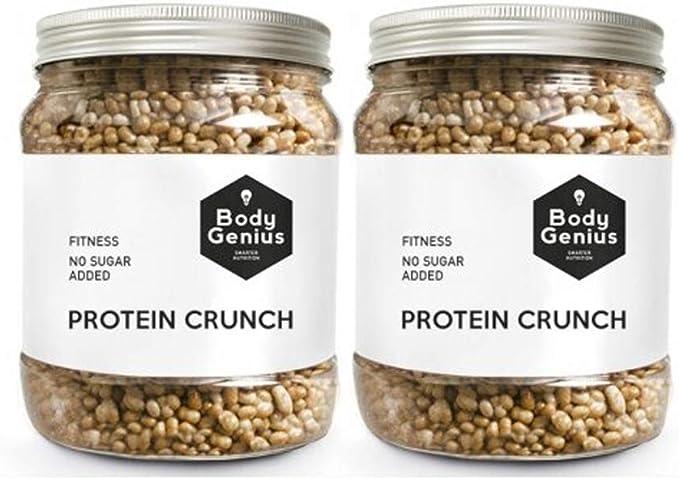 BODY GENIUS Dúo Protein Crunch (Galleta). 2x500g. Cereales Proteicos. Bolitas de Proteína Recubiertas de Chocolate Sin Azúcar. Bajo en Hidratos. Snack ...