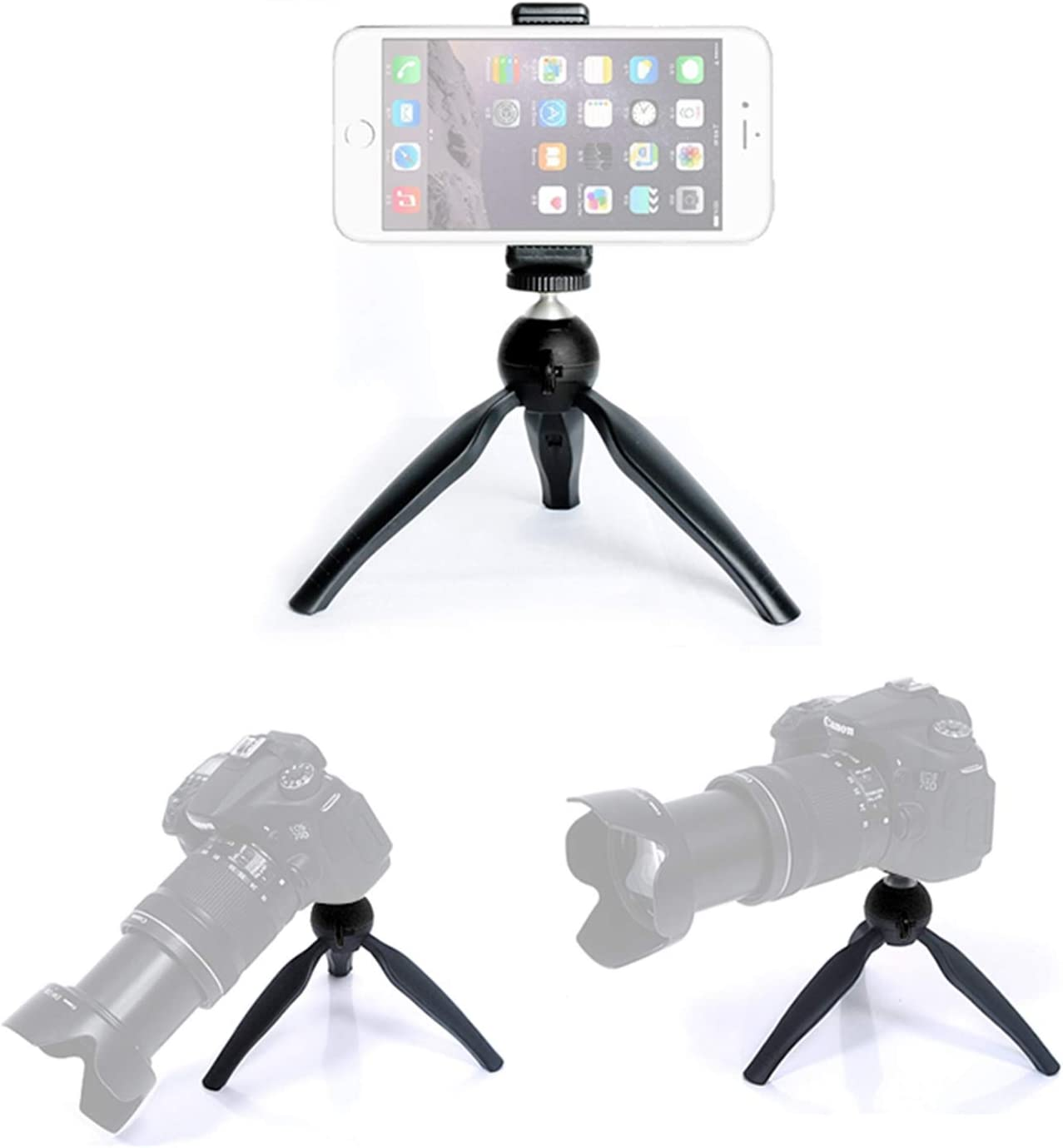 Semoic Camera Accessories Portable Handheld Camera Tabletop Tripod with Phone Holder for Mobile Phone Smart Phone(Black)