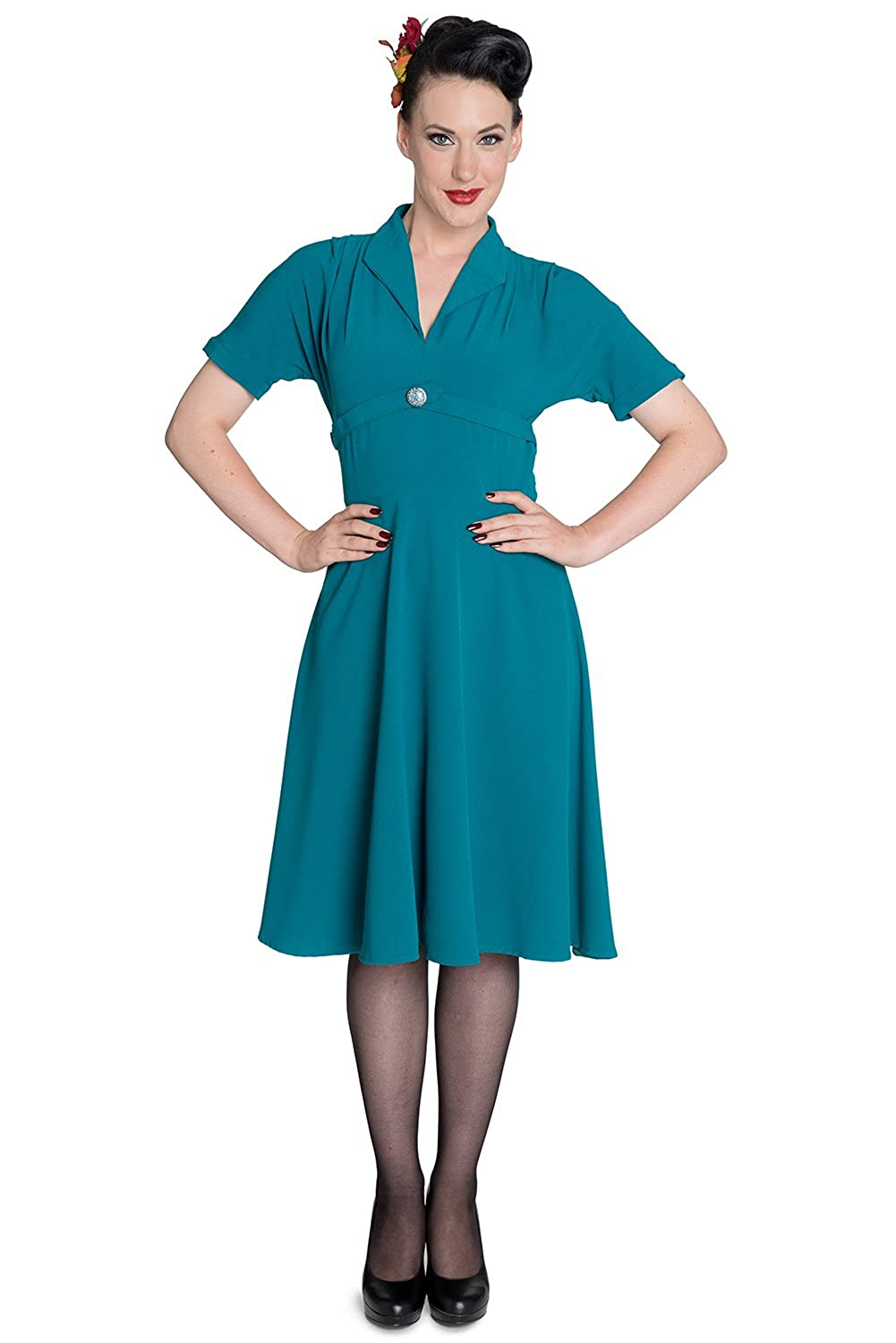 1930s Day Dresses, Afternoon Dresses History 40s Hell Bunny Jocelyn Retro Rockabilly Landgirl Dress $34.99 AT vintagedancer.com