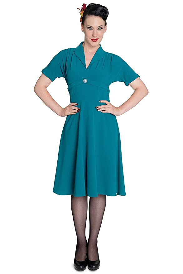 Plus Size Retro Dresses 40s Hell Bunny Jocelyn Retro Rockabilly Landgirl Dress $34.99 AT vintagedancer.com
