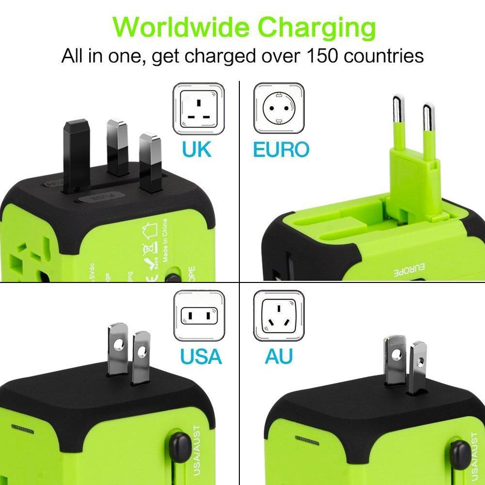 - Bleu 5V 2.4A Incluant Un C/âble /& 2 en 1 C/âble Micro USB /& Type C VGUARD Voyage Adaptateur International et 2 USB Adapteur Chargeur vers Prise Anglaise pour Americaine UK AUS EU 150 Pays