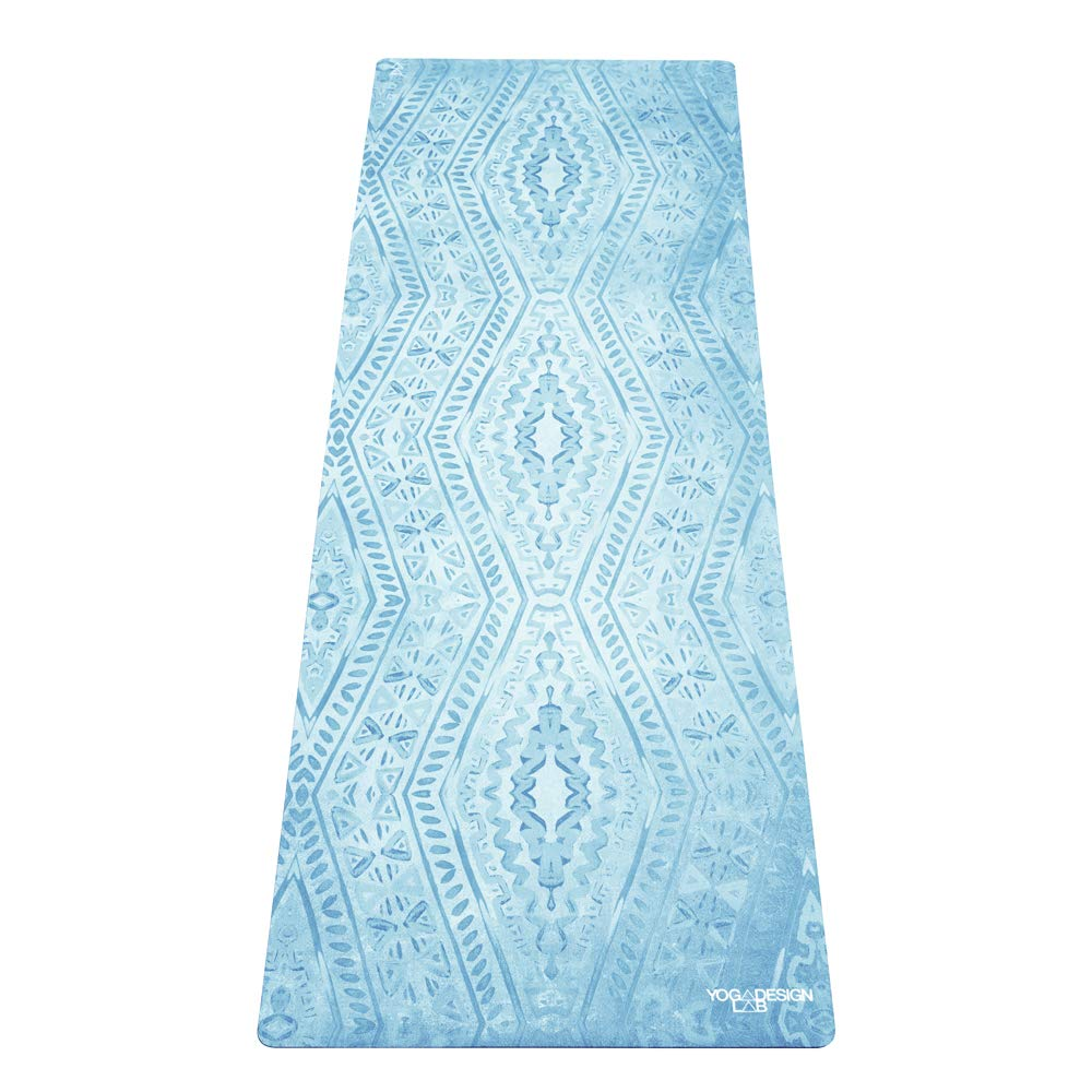 YOGA DESIGN LAB | Commuter Yoga Mat | 2-in-1 Mat+Towel | Lightweight, Foldable, Eco Luxury | Ideal for Hot Yoga, Bikram, Pilates, Barre, Sweat | 1.5mm Thick | Includes Carrying Strap! (Ikat)