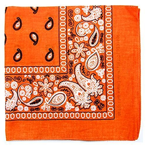 Paisley One Dozen Cowboy Bandanas(Orange)