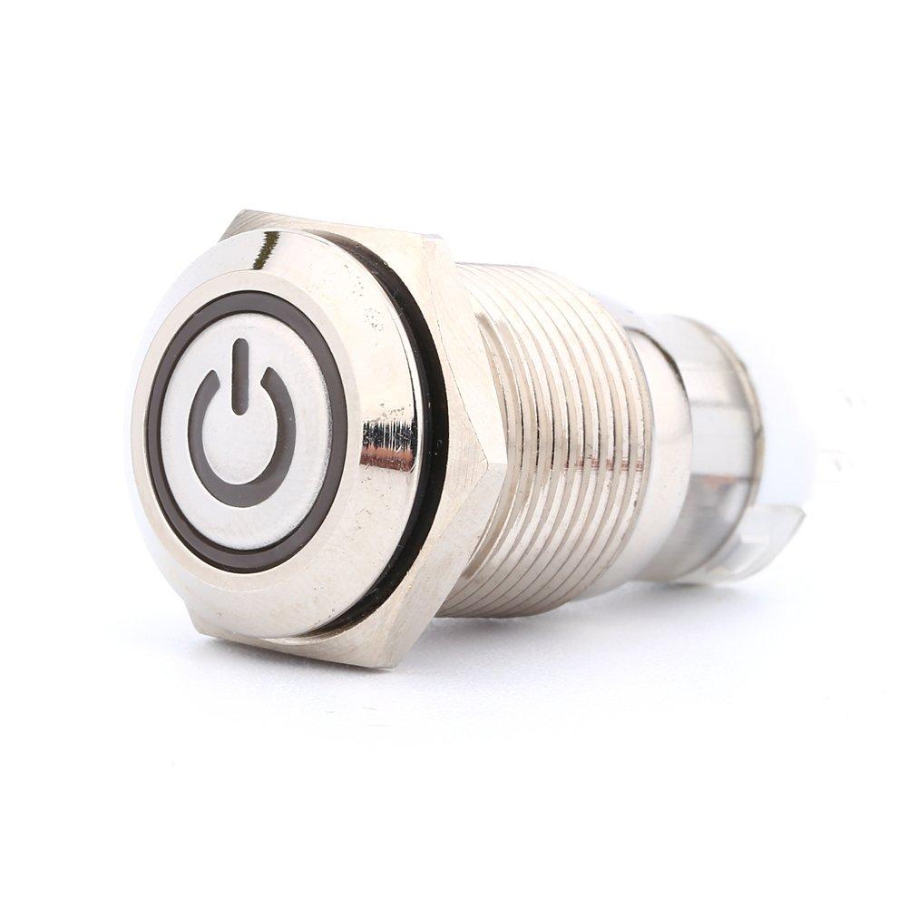 16mm 1NO 1NC Interruptor de bot/ón LED 12V Interruptor de bot/ón de arranque del motor del veh/ículo LED azul luz