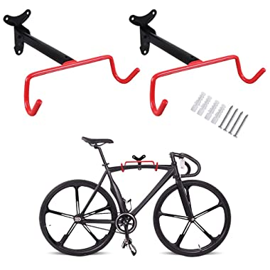 PHUNAYA Bike Hanger 2pcs Wall Mount Bike Hook Horizontal Foldable Bicycle Holder Garage Bike Storage Bicycle Hoist Heavy Duty Screws