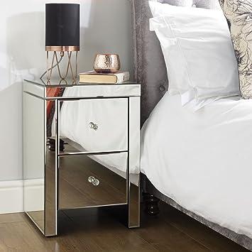 Spiegel Schlafzimmer Möbel, Happy Betten Sevilla Silber 2 Schubladen  Nachttisch, Höhe 60 Cm