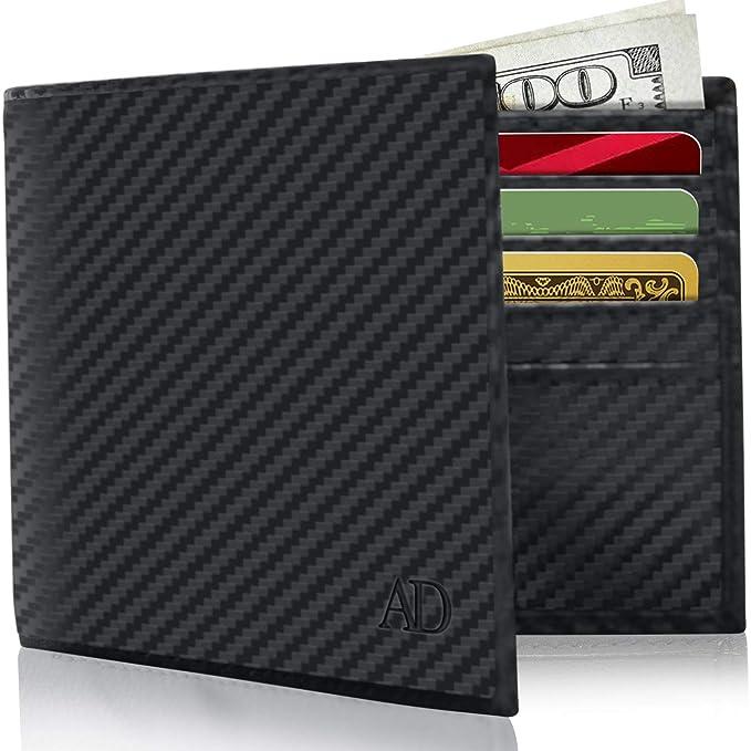 Amazon.com: Billetera de piel delgada con doble pliegue para ...