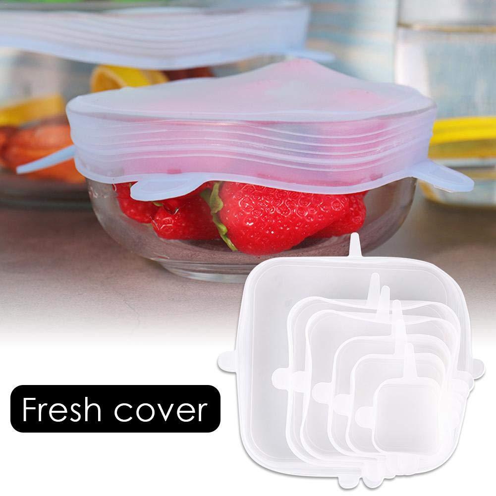bouncevi Silicona el/ásticas,Tapas Silicona Ajustables Cocina,Tapas Silicona,Tapa de Almacenamiento de Alimentos sellada Transparente Reliable