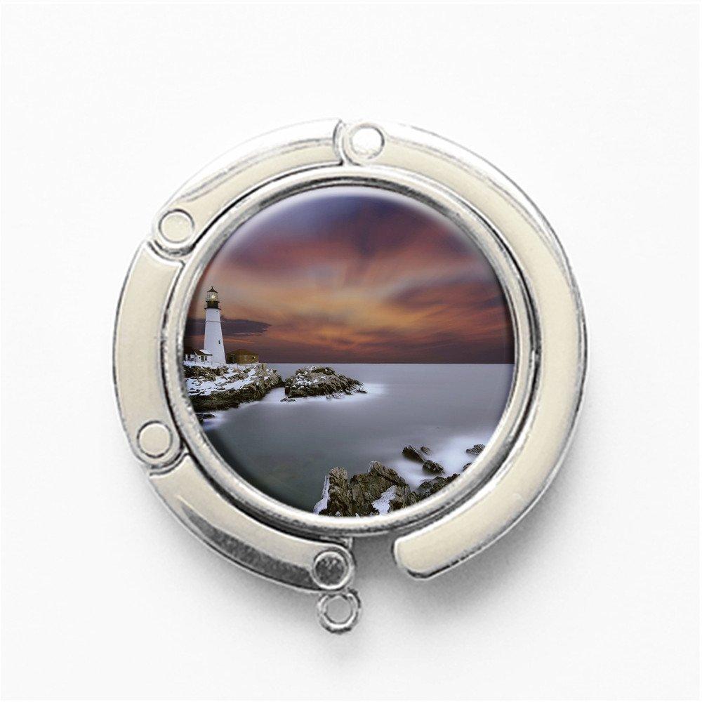 FS632 Silvery RhyNSky Rocks In The Sea Round Folding Handbag Hook Purse Hanger Holder for Table
