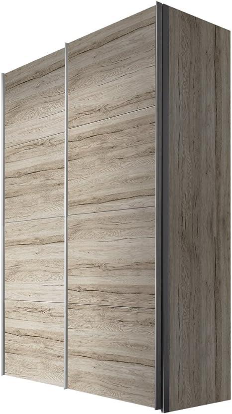 Solutions 47410 – 160 Armario de Puertas correderas (2 Puertas, Estructura y Frente a Barras de Roble Light, Mango Remo de Aluminio, 68 x 150 x 216 cm: Amazon.es: Hogar