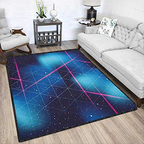 """Navy and Blush Silky Smooth Bedroom Mats,Eighties Inspired Retrofuturistic Triangles Virtual Reality Sci Fi Multicolor & Anti-Skid Indigo Blue Hot Pink 67""""x102"""""""