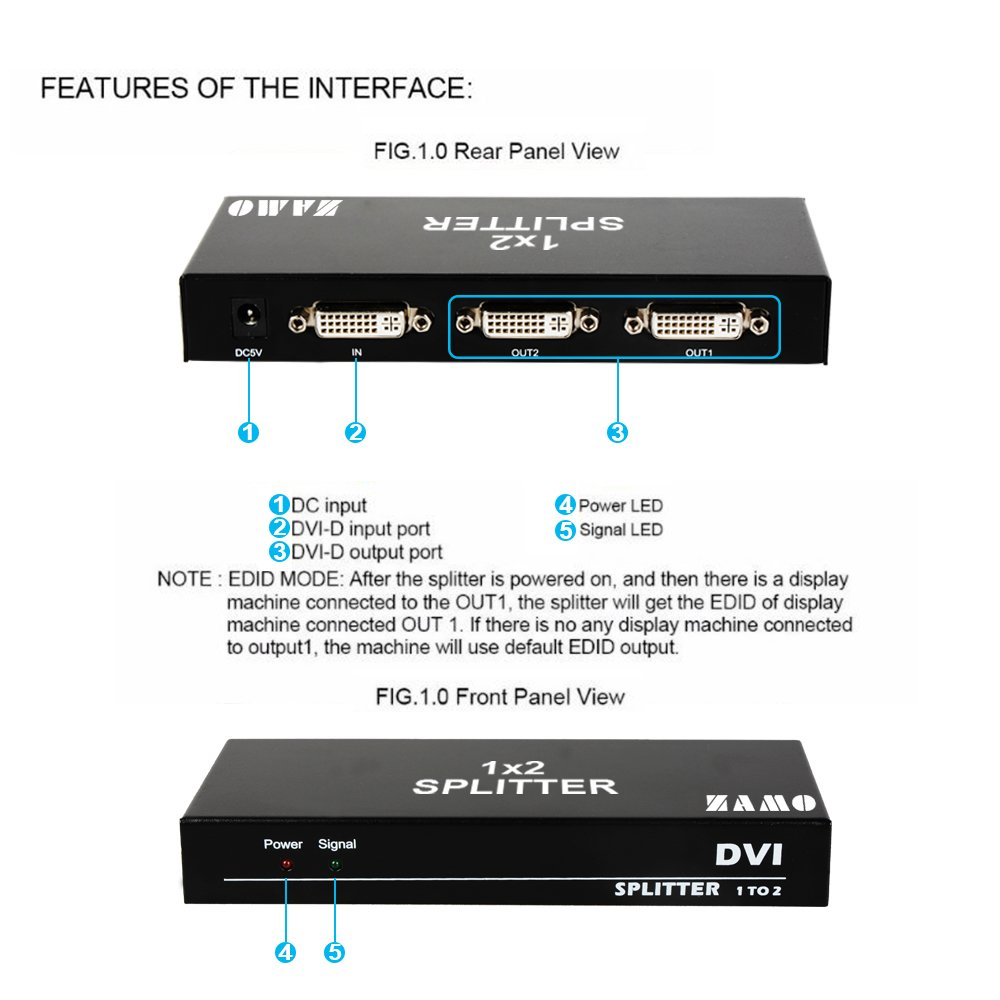Zamo 1x2 Dvi Splitter Multiple Video Display Support Rbvhda8 3g Hd Sdsdi 1 Input 8 Output Distribution Amplifier 4k2k 3d1 2 Electronics