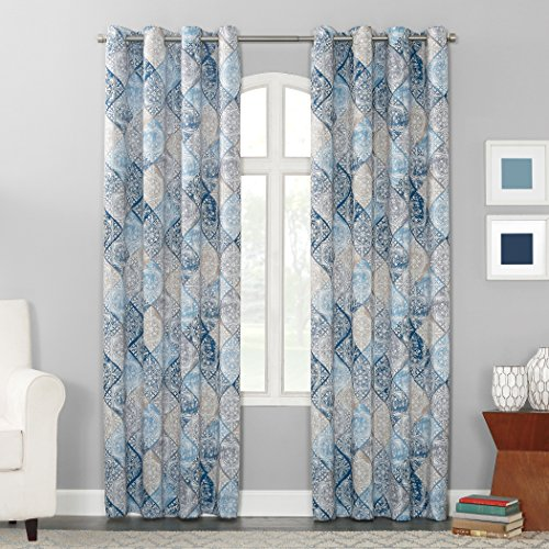 Sun Zero Reardon Distressed Global Tile Print Grommet Curtain Panel, 54