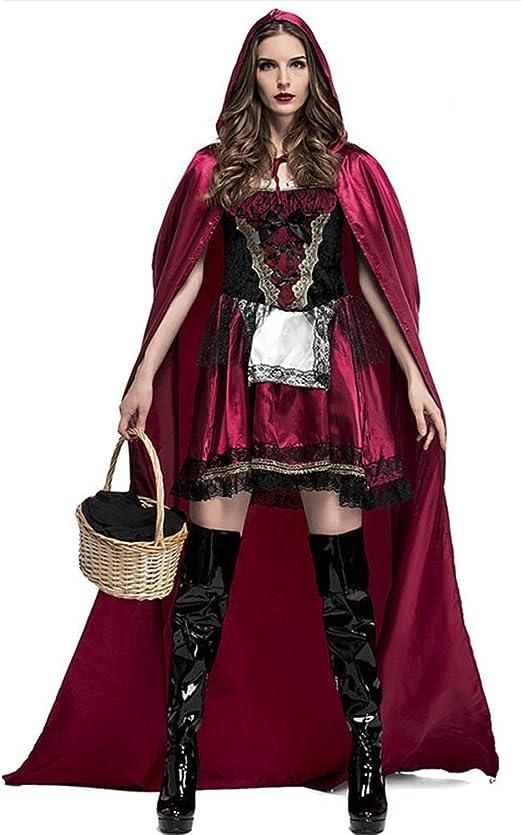 ALXDR Disfraz De Caperucita Roja para Mujer Capa con Capucha ...