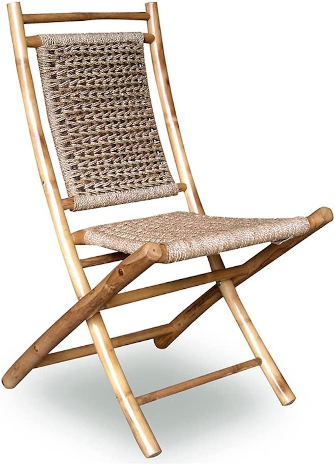 Pack of 2 Natural Heather Ann Creations Bamboo Folding Chairs with Arrow Weave