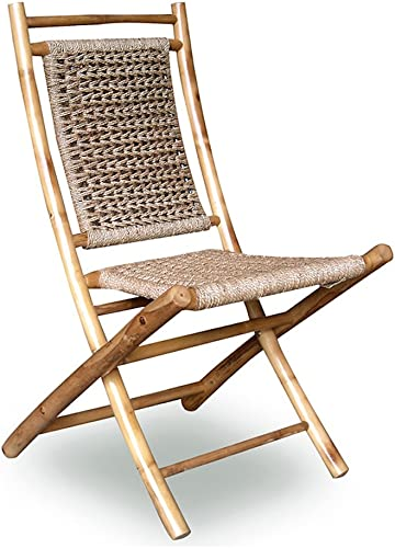Heather Ann Creations Bamboo Folding Chairs with Open Link Weave, Pack of 2, Natural