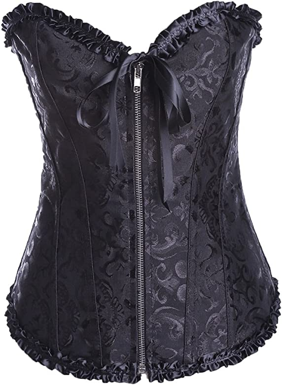 Dingang Womens Satin Lace up Overbust Corset Bustier Plus Size
