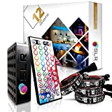 4pc Multi-Color RGB LED Strip Kit, 12-inch Pre-Cut Accent Light Strips for TV Home Theater Backlight and Kitchen Under Cabinet Lighting, Waterproof Silicone, 3M Tape, Power Adaptor