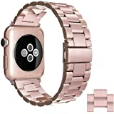Simpeak Adjustment Stainless Steel Band Strap for Apple Watch 42mm Series 1 Series 2 Series 3 - With Link Removal Tool & 2pcs Links, Rose Gold for Women Girl