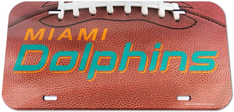 WinCraft NFL Miami Dolphins Crystal Mirror Football License Plate Team Color One Size