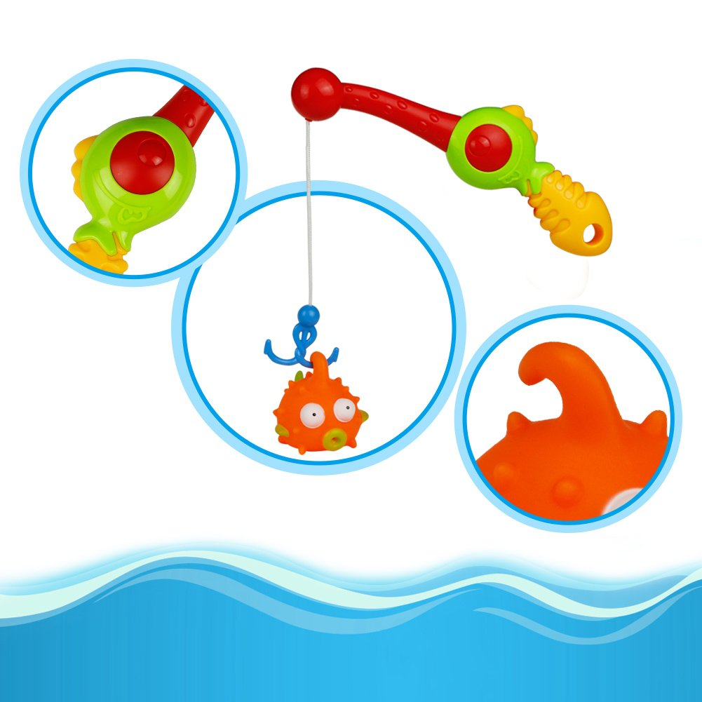 Water Play Centre, Beach Toys Set, Bath Toys, Kids Fishing Rod Games Floating Toys Girls Boys for 3 4 5 6 Years Old, 12 Pcs