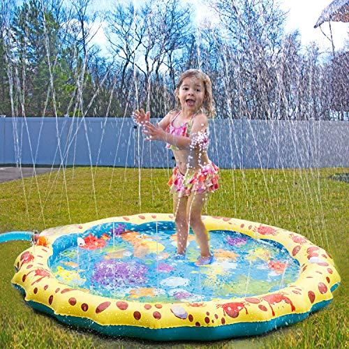 - Conthfut Toddler Sprinklers Splash Water Play mat, 39in-Diameter Splash pad Outdoor Sprinkle Mat Summer Fun Water Toys Toddler Boys Girls