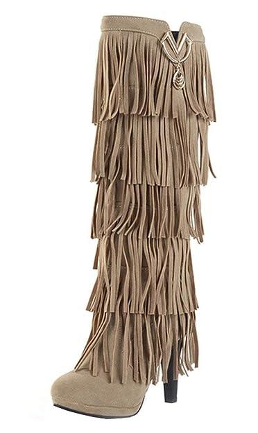 YE Botte Frange Femme Talon Haut Aiguille Chaussure Hiver  Amazon.fr ... 103565cf1626